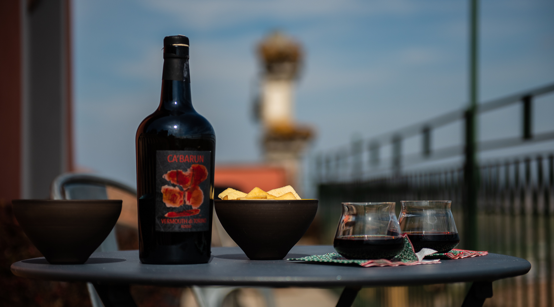 Aperitivo with Vermouth di Torino from Ca'Barun on the roof terrace at Al Palazzo Rosso